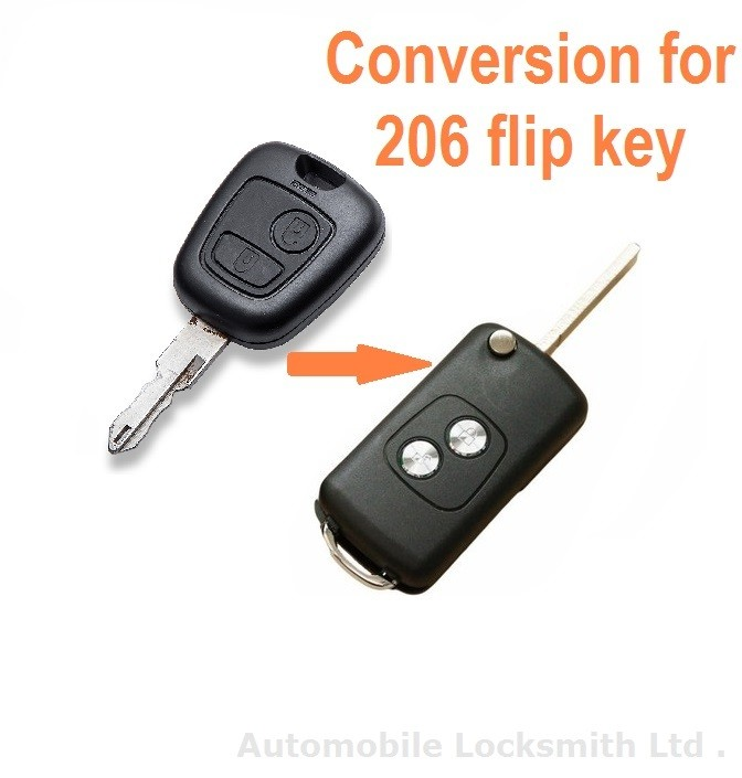 Conversion kit to flip key for Peugeot 206 2 button remote key