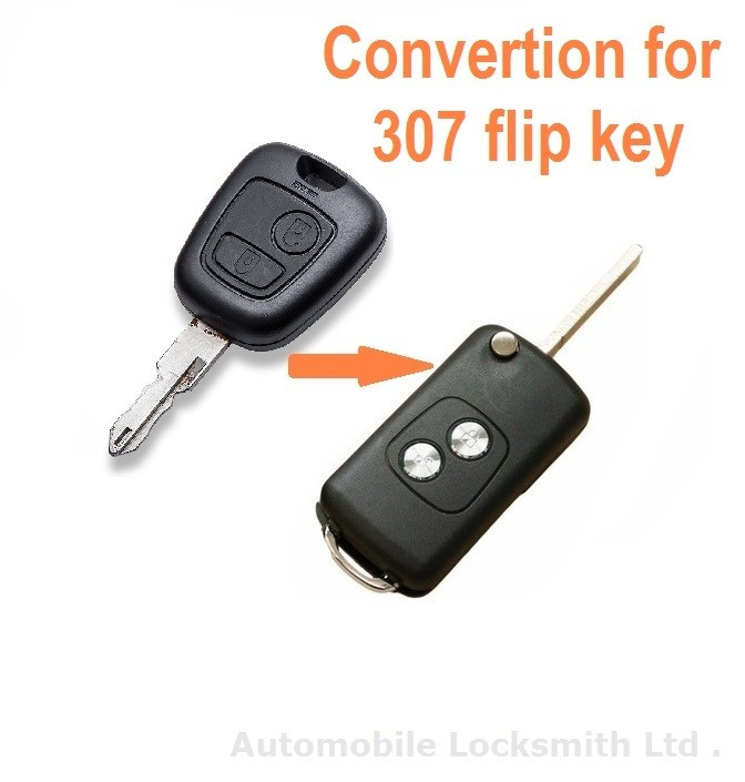 Conversion kit to flip key for Peugeot 307 2 button remote key blade without groove