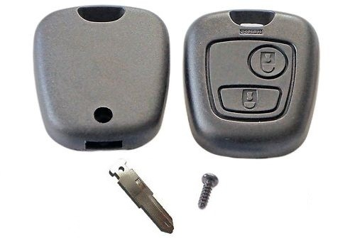 For Peugeot 206 2 button remote key fob case shell with blank key blade
