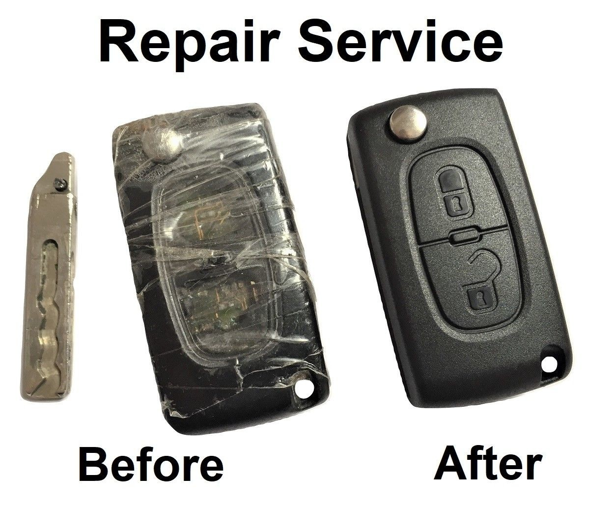 Repair service for Peugeot 107 207 307 308 407 Partner 2 button remote flip key