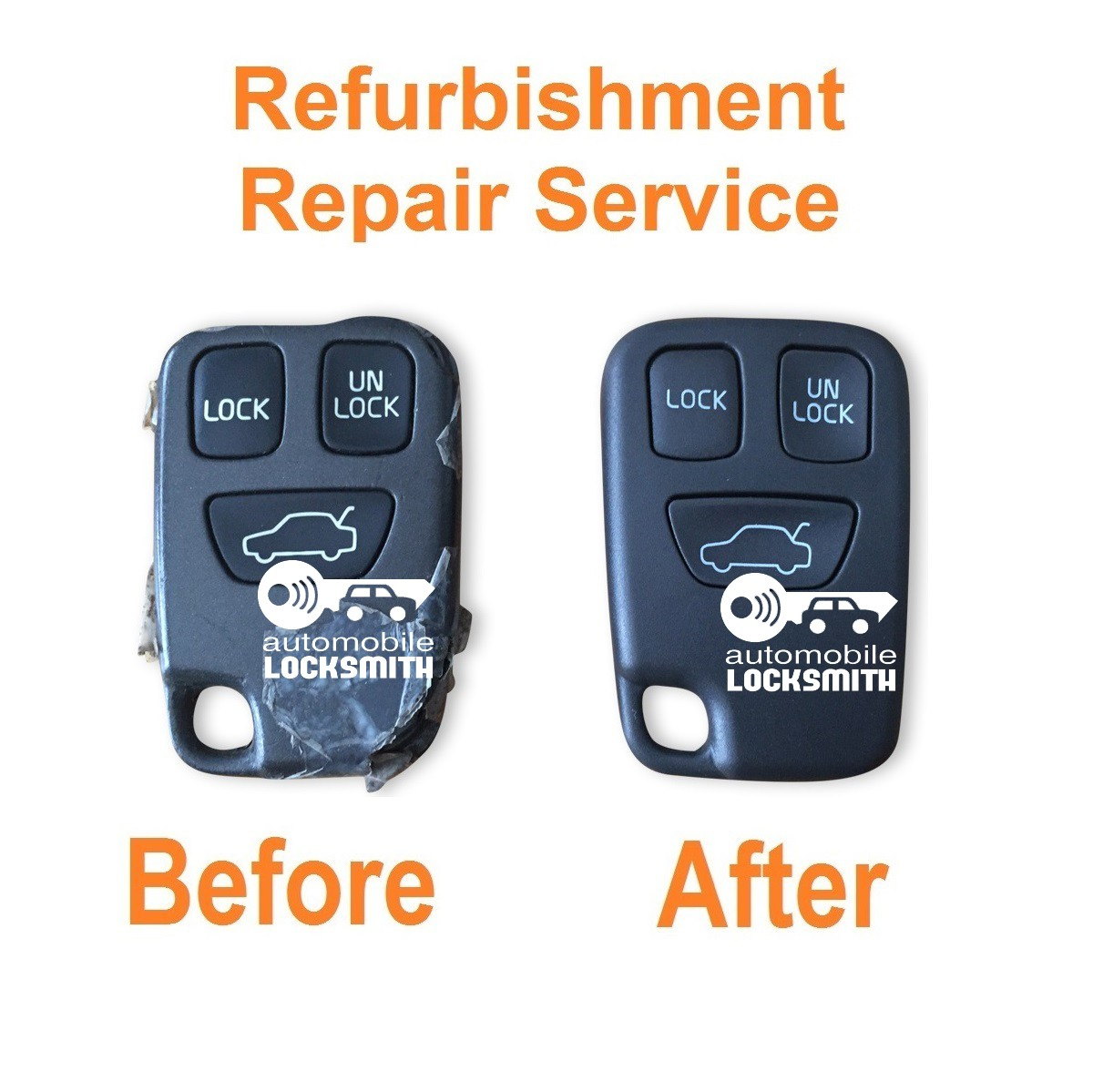 Repair service for Volvo S40 V40 V70 C70 S70 3 button remote key refurbishment