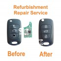 Refurbishment repair service for Hyundai Accent i10 i20 i30 Verna ix35 Solaris 3 button remote flip key fob