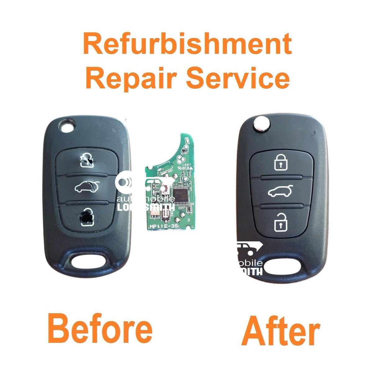Refurbishment repair service for Kia Rio Ceed Sportage Picanto Sorento Cerato 3 button remote flip key fob