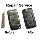 Repair service for Citroen C1 C2 C3 C4 C5 C6 Berlingo 2 button remote flip key