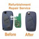 Refurbishment Repair service for Fiat Panda Punto Ducato 3 button remote flip key