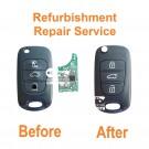 Refurbishment repair service for Hyundai Accent i10 i20 i30 Verna ix35 Solaris 3 button remote flip key fob